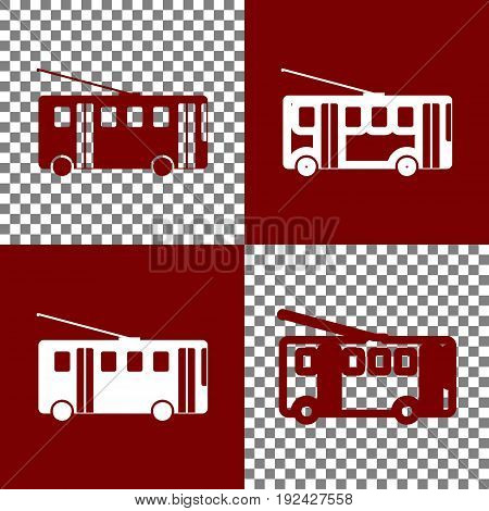 Trolleybus sign. Vector. Bordo and white icons and line icons on chess board with transparent background.