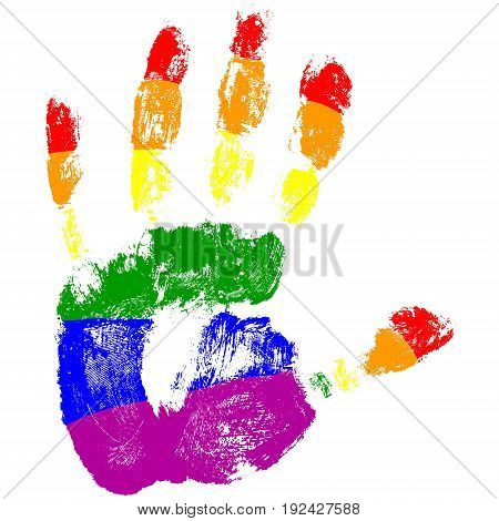 stop homophobia, a handprint with the colors of the LGBT flag, vector palm stopping homophobia, human rights observance, lesbian and gay