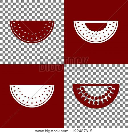 Watermelon sign. Vector. Bordo and white icons and line icons on chess board with transparent background.