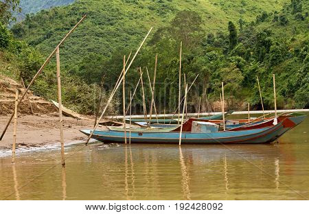 Landscape of Nong Khiaw and Ou river, Laos southeast asia