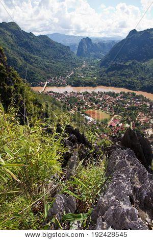 Nam Ou river in Nong Khiaw village, northern Laos