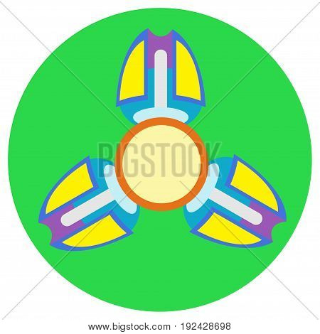 Yellow with purple spinner with three blades a flat style. Vector image on a round light green background. Element of design, interface.