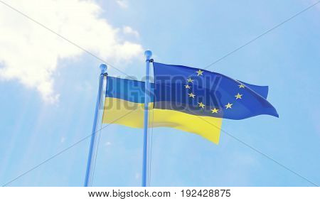 Ukraine and European Union, two flags waving against blue sky. 3d image