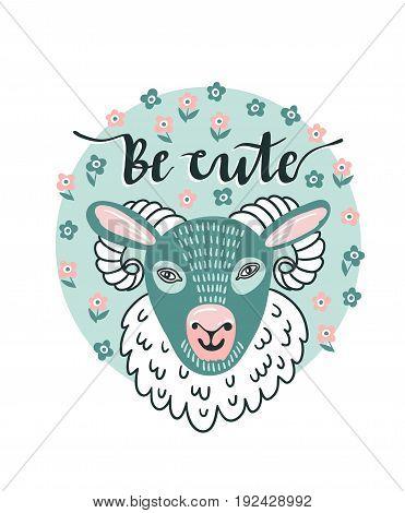 Vector cartoon sheep and hand text - 'be cute'. Cute animal design for children shirt.