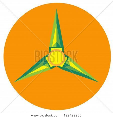 Yellow with green spinner blades with pointed triangular a flat style. Vector image on a round orange background. Element of design, interface.