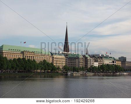 Binnenalster (inner Alster Lake) In Hamburg