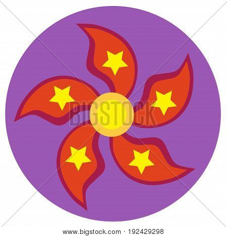 Red spinner with five blades in the form of petals and stars a flat style. Vector image on a round purple background. Element of design, interface.