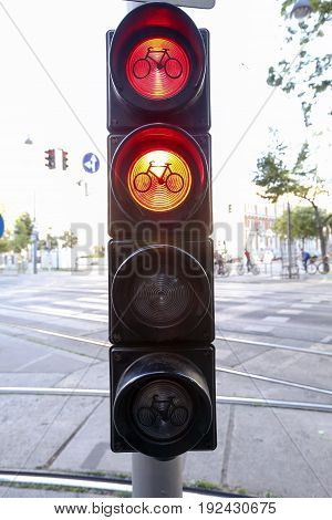 Bike Sign In Red And Yellow Light