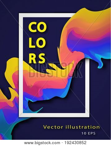 Abstract colorful vector background with liquid paint. Curve flow purple motion illustration. Mixing color. Colored fluid. Vector banner template, flyers, booklet.