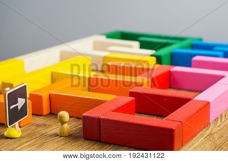 Entrance to the labyrinth. Man in the in the maze the search for the exit. Labyrinth of colorful wooden blocks. The concept of a business strategy analytics search for solutions the search output.