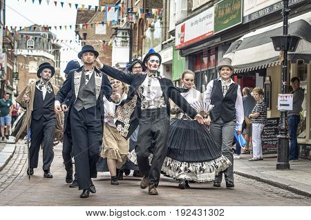 Rochester United Kingdom - June 11 2017: Twice a year Dickens enthusiasts strolling players re-enactors Dickensian 'characters' not to mention a few oddballs join the public in a Festival to commemorate and celebrate the life of Charles Dickens.