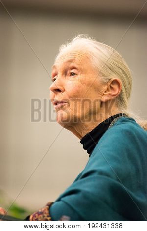 Rosemont, PA - September 15: Dr. Jane Goodall speaks at The Agnes Irwin School in Rosemont, PA on September 15, 2015