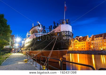 GDANSK, POLAND - JUNE 21, 2017: SS SOLDEK on Motlawa river in Gdansk. SS SOLDEK is the first ship built in Poland after World War II. Currently is preserved as a museum ship in Gdansk.