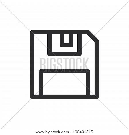 Floppy disk line icon outline vector sign linear style pictogram isolated on white. Save symbol logo illustration. Thick line design. Pixel perfect graphics