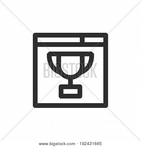 Browser and trophy line icon outline vector sign linear style pictogram isolated on white. Website ranking symbol logo illustration. Thick line design. Pixel perfect graphics