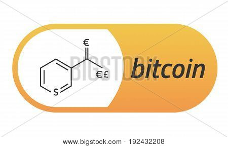 Bitcoin Chemical formula. Bitcoin like a capsule Vitamin PP. Eps10 Vector. White background.