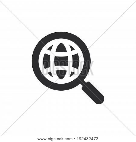 Global search icon vector filled flat sign solid pictogram isolated on white. Symbol logo illustration. Pixel perfect
