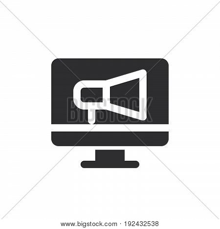 Screen and megaphone icon vector filled flat sign solid pictogram isolated on white. Online advertising symbol logo illustration. Pixel perfect