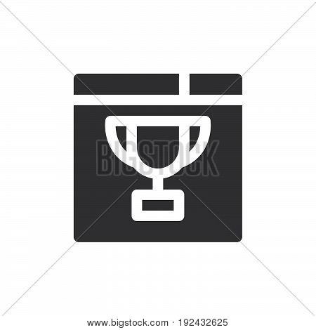 Browser and trophy icon vector filled flat sign solid pictogram isolated on white. Website ranking symbol logo illustration. Pixel perfect