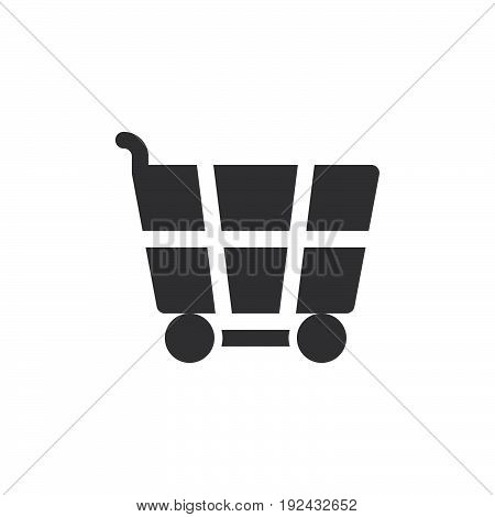 Shopping cart icon vector filled flat sign solid pictogram isolated on white. Symbol logo illustration. Pixel perfect
