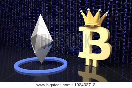 Bitcoin and Ethereum currency signs. 3D rendering.