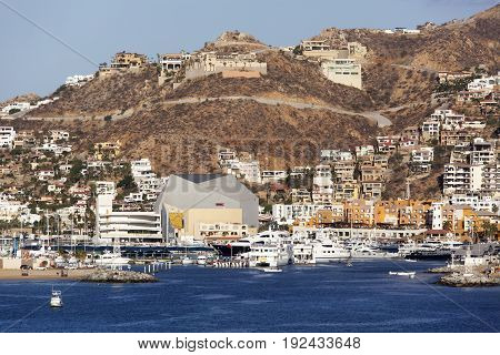 The downtown of Cabo San Lucas the popular resort town in Mexican Riviera.