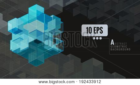 Blue abstract geometric cube graphic template on black backgroundAbstract conceptual illustration for organization about teamworkbrilliantunityoutstandingvisionetc.