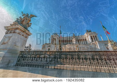 ROME ITALY - JUNE 2 2017: Double exposure with the Monument Nazional a Vittorio Emanuele II king of a unified Italy and soldiers in background that are in parade from National Day of Italy.