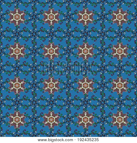 Colored. Vintage vector decorative ornament. Arabic Mandala pattern on background. Orient symmetry lace fabric. East Islam Indian motifs. Wedding holiday card. Ethnic texture.