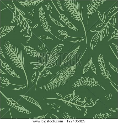 Farming green wheat and rye spike repeating texture background