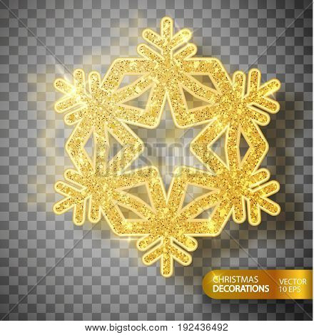 Christmas decoration. Gold snowflake on a transparent background. Isolated Big snowflake. Gol flicker of particles and magic fliker. Vector illustration 10 EPS
