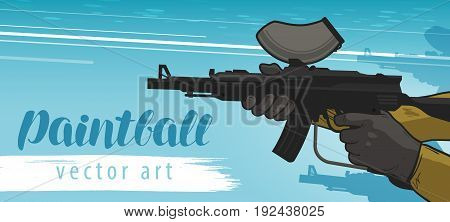 Paintball banner. Sports team game, assault rifle. Cartoon vector illustration