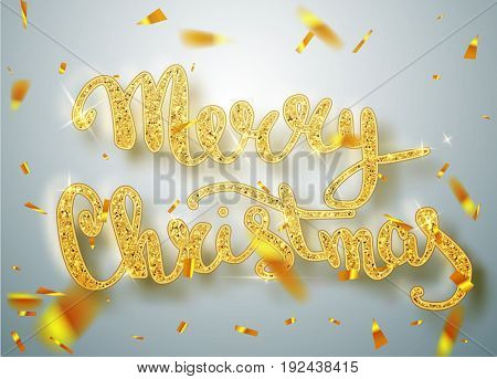 Merry Christmas lettering greeting card for holiday. Gold Shining. Decoration ornament with with snowflake pattern. Golden confetti falls. Calligraphy Christmas lettering. Vector Illustration EPS10