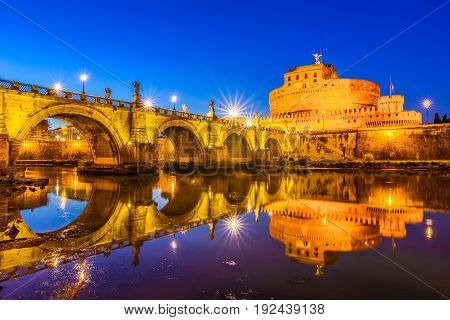 Ponte Sant'angelo Bridge Crossing The River Tiber