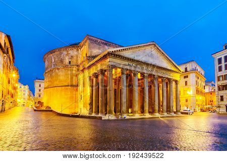 Night View Of The Pantheon, Rome, Italy