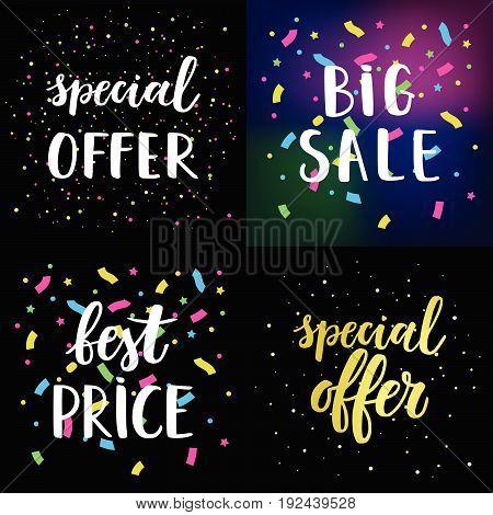 Sale card vector Illustration set. Special offer Big sale Best Price lettering.