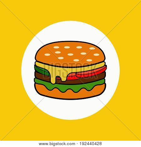 Burger isolated on the background. vector illustration