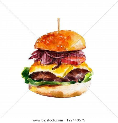 Hamburger with bacon and fresh vegetables watercolor illustration isolated on white background.