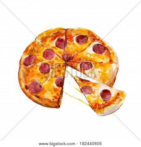 Pizza with pepperoni watercolor illustration isolated on white background.