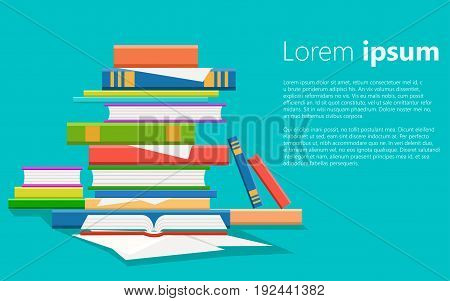 Stack Of Books Vector Illustration. Pile Of Books Isolated From Background. Stack Of Colored Books I