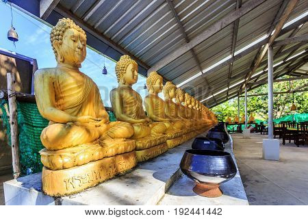 Golden Buddha Row In Thailand Big Buddha Temple