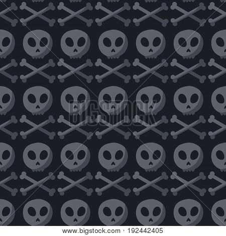 Skull and crossbones seamless pattern Flat design of danger or poison sign Day of the Dead Dia de los Muertos or Halloween object Jolly Roger vector illustration