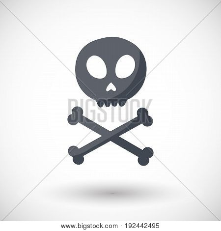 Skull and crossbones vector flat icon Flat design of danger or poison sign Day of the Dead Dia de los Muertos or Halloween object Jolly Roger vector illustration