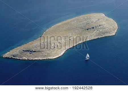 National park Kornati Kornati archipelago Adriatic sea in Croatia aerial view