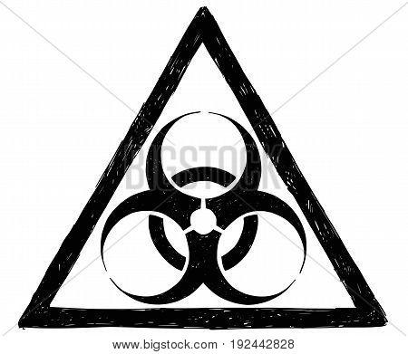 Vector drawing illustration of biohazard symbol sign