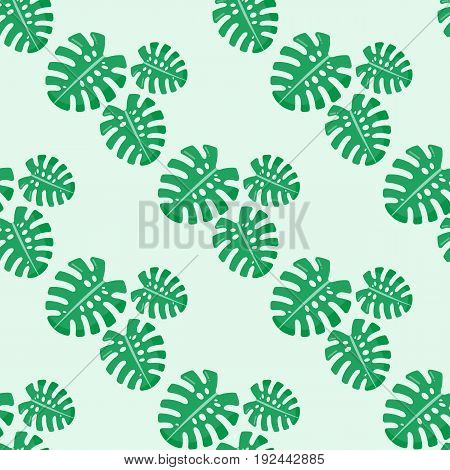 Monstera leaves seamless pattern Flat design of tropical plant on the light green background vector illustration