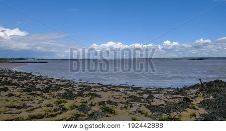 View of the river Severn crossing with old Severn bridge. Low tide and sandy shore in the foreground.