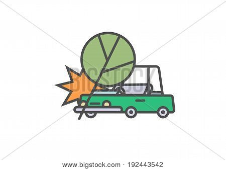 Flat line car insurance simple illustration featuring tree falling on vehicle. Vector icon of automobile hitting an oak on white background.
