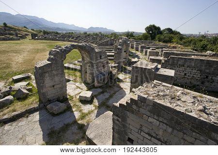 Ruins of ancient roman town Salona near town Split in Croatia