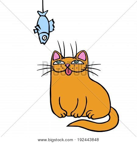 Funny ginger cat looks at the fish. Vector illustration. Cartoon animal character.
